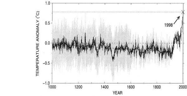 Of Northern Hemisphere Temperatures For The Past 1000 Years Relative To The Average Of 1961 90 The Dark Line Shows Mean Values And The Gray Band