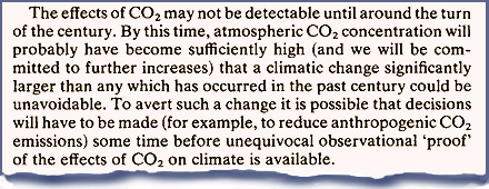 the carbon dioxide greenhouse effect  the predictions of the best computer models and compared them the natural fluctuations of climate observed in the past 46a their conclusion