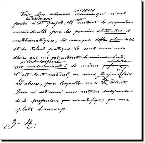 einstein    s essay for the aarau school  written in french