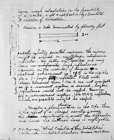 a history of the idea of laser in 1905 In 1905, albert einstein proposed the dual nature of light, having both  in 1957,  townes and shawlow proposed the concept of lasers in.